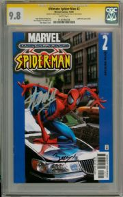 Ultimate Spider-man #2 Car Cover CGC 9.8 Signature Series Signed Stan Lee & Bagley Marvel comic book